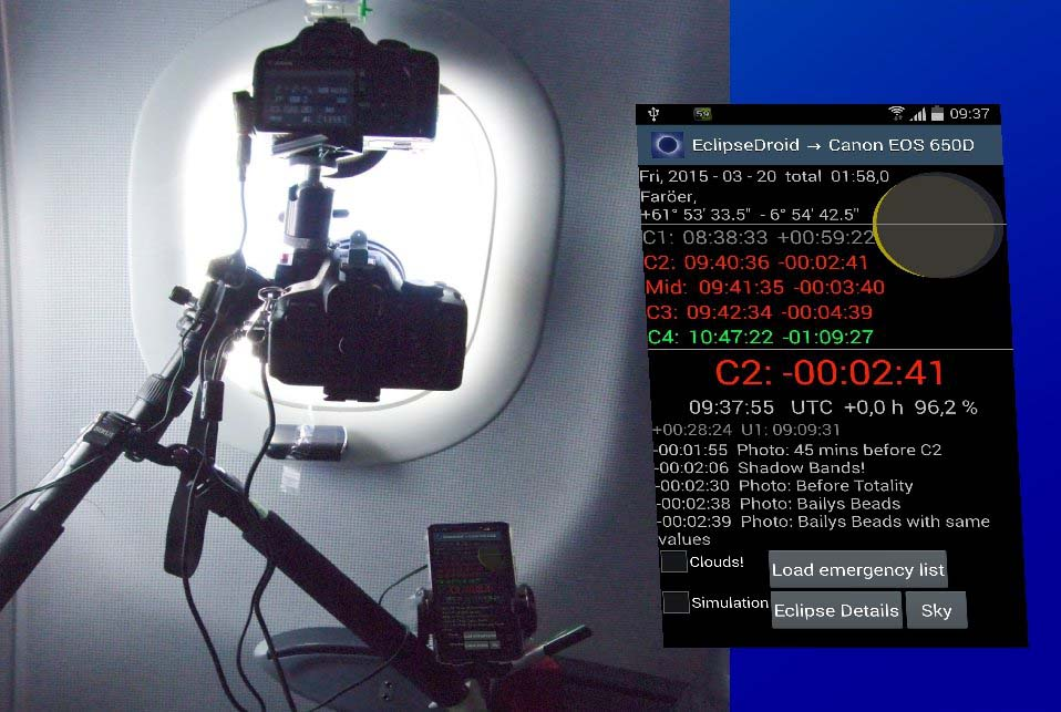 EclipseDroid is controling two cameras during TSE 2015